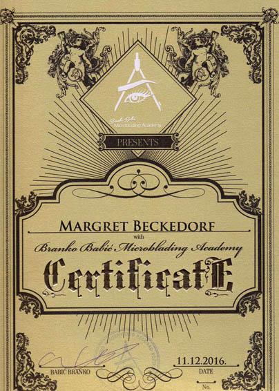 Zertifikat von Margret Beckedorf über Teilnahme an der Branko Barbic Microblading Academy