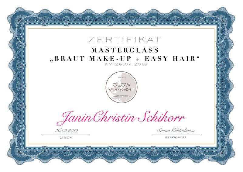 Zertifikat von Janin-Christin Schikorr Braut Make-up Masterclass