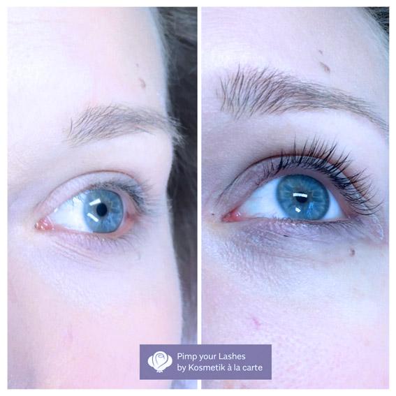 Vorher-Nachher-Bild Wimpernverlängerung von Kosmetik à la carte