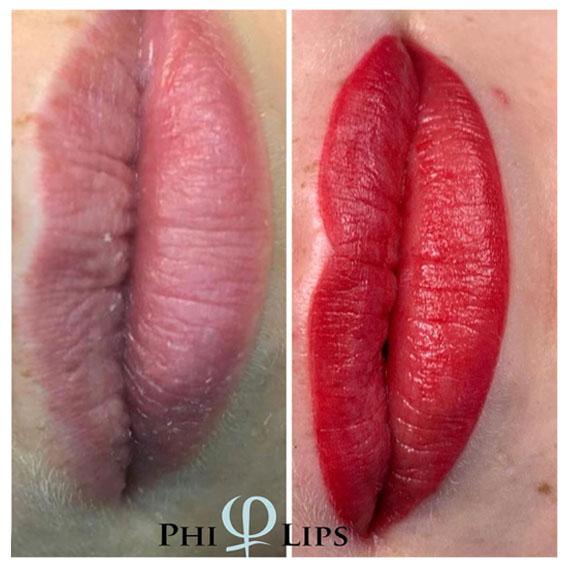 Nachher-Bild Lippenbehandlung mit Permanent Make-up PhiContour