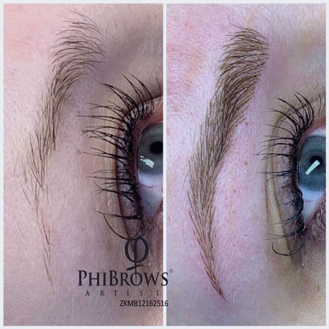 Vorher-Nachher-Foto einer Phibrows Microblading-Behandlung von Margret Beckedorf