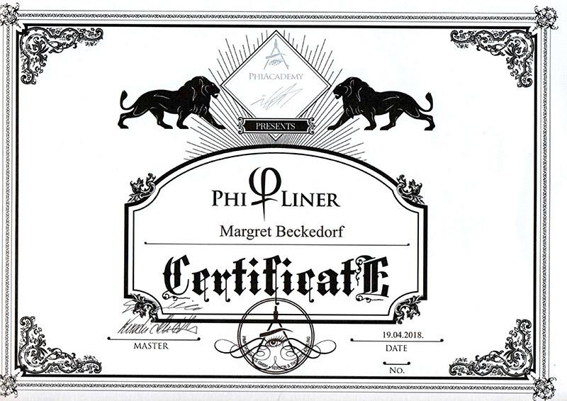 Zertifikat von Margret Beckedorf über Teilnahme an PhiLiner Schulung