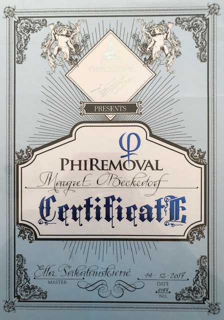 Zertifikat von Margret Beckedorf über Teilnahme an PhiRemoval Schulung