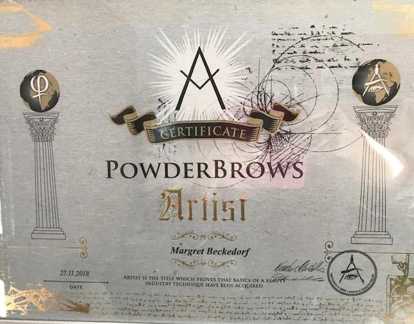 Zertifikat von Margret Beckedorf über Qualifikation zum PowderBrows Artist