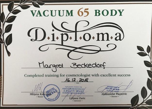 Zertifikat von Margret Beckedorf über Vacuum Body Diplom